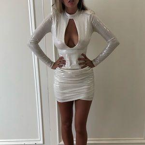 Dresses & Skirts - Solemino White Longsleeve Sheer Cutout Dress